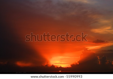 HDR of a dramatic red cloudy sunset