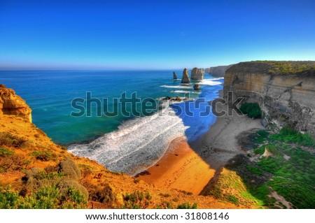 HDR of famous Twelve Apostles in Australia - stock photo