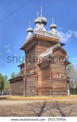 HDR of old wooden church in Malye Karely (Little Karely) near Arkhangelsk, north of Russia, Europe - stock photo