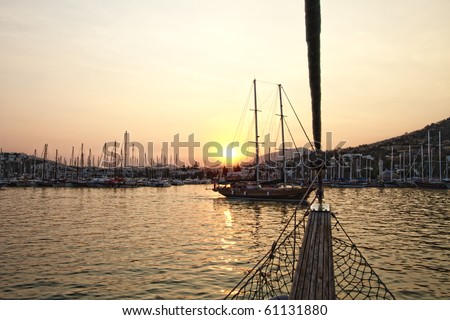 HDR of  Turkish Sailing Yachts in Bodrum at Sunset - stock photo
