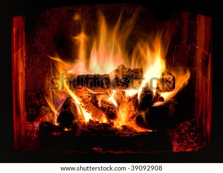HDR photo of hot and cozy fireplace - stock photo