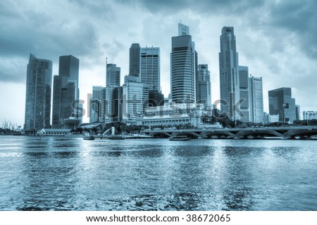 HDR photo of Singapore cityscape, Asia. Logos and names on skyscrapers removed. - stock photo