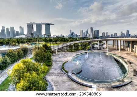 HDR rendering of Singapore's skyline from the Marina Barrage. - stock photo