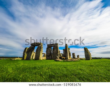 HDR Ruins of Stonehenge prehistoric megalithic stone monument in Wiltshire, England, UK