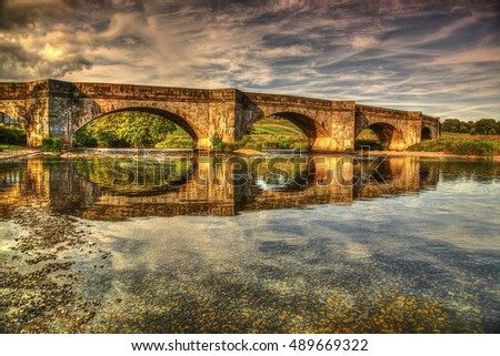 HDR view of grassington bridge and the river wharfe in the Yorkshire dales uk