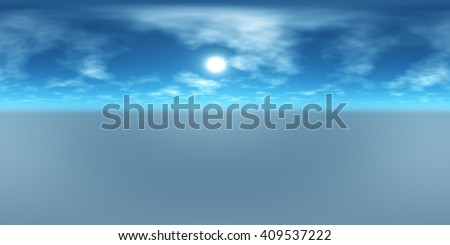 HDRI High resolution map, environment map, Round panorama, spherical panorama, equidistant projection of the sun in the clouds above the earth, . 3D rendering