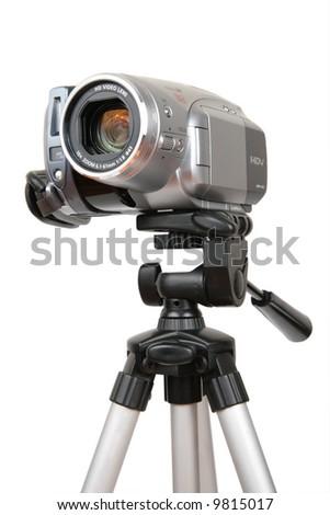 HDV camera on tripod - stock photo