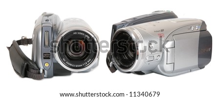 HDV video camera front view - stock photo