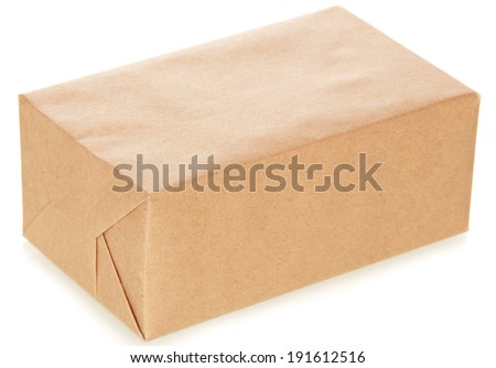he craft paper package isolated on white - stock photo