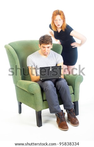 he get's the fright of his life - stock photo