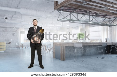 He is carrying out an idea - stock photo