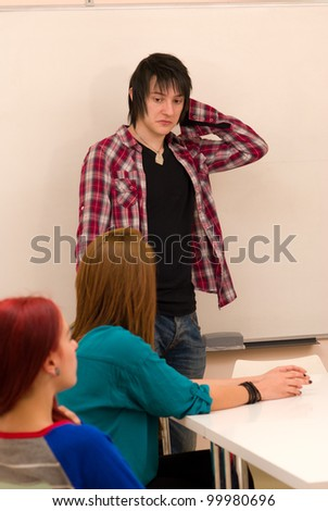 He is overwhelmed and confused - stock photo