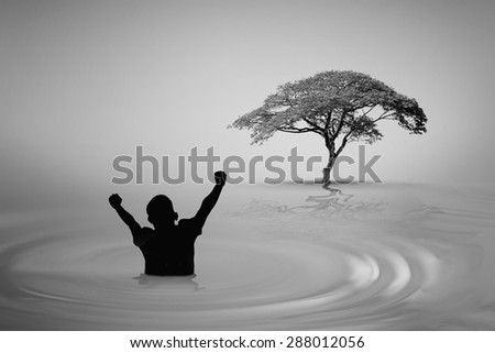 He is walking in flooded both fists in delight at the huge tree goal and hopes to have survived the disaster.
