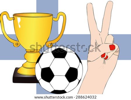 He won Finland - Illustration depicting the joy of a supporter for the cup won in a football tournament for nations - stock photo