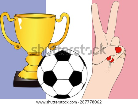 He won France - Illustration depicting the joy of a supporter for the cup won in a football tournament for nations - stock photo