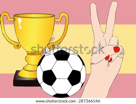 He won Spain - Illustration depicting the joy of a supporter for the cup won in a football tournament for nations - stock photo