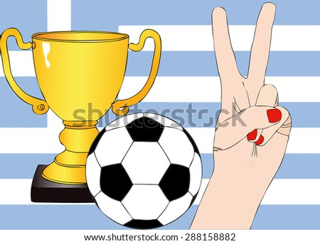 He won the Greece - Illustration depicting the joy of a supporter for the cup won in a football tournament for nations - stock photo