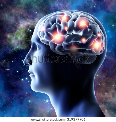 Head and brain - 3D illustration. Neural connections. - stock photo