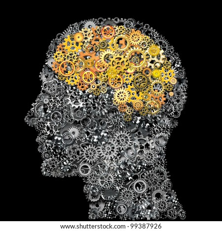 Head and Brain Gears in The Human Thinking Concept - stock photo