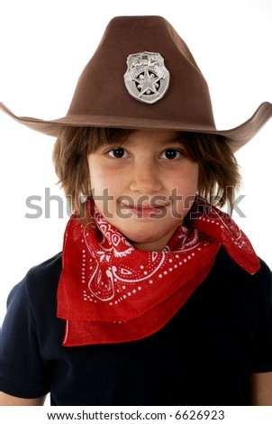 Head and shoulders portrait of a cowgirl sheriff. - stock photo