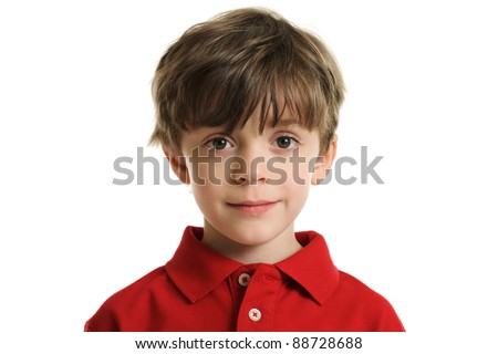 Head and shoulders portrait of a 6 year old boy isolated on a white background - stock photo