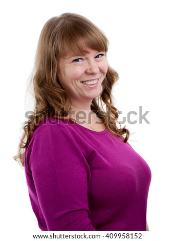 Head and shoulders portrait of young cheerful woman, long curly hair, isolated on white background - stock photo