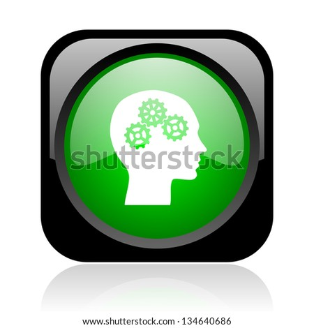 head black and green square web glossy icon - stock photo
