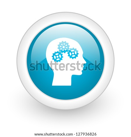 head blue circle glossy web icon on white background