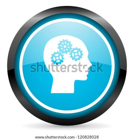 head blue glossy circle icon on white background