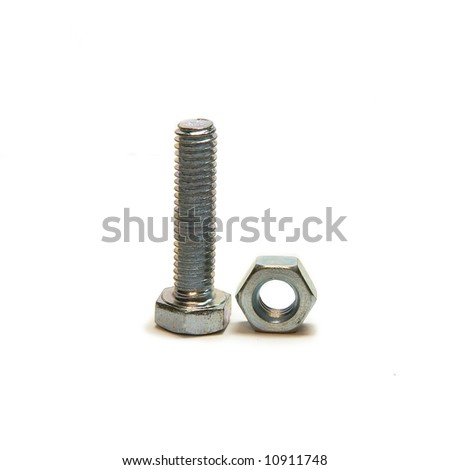Head bolt and screw nut, close up - stock photo