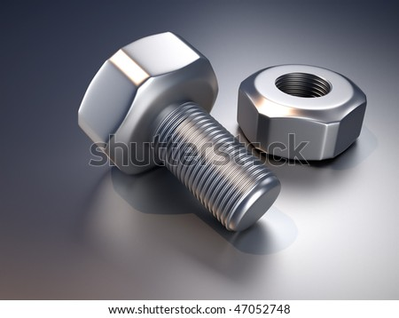 Head bolt and screw nut, close up. 3d render illustration