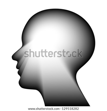 Head for the concept of thought.Raster illustration - stock photo