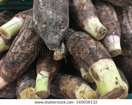 Head fractures Taro in various sizes, large and small scattered on the shelves for sale to people to cook. Health benefits Grown in soil without chemicals Suitable applications