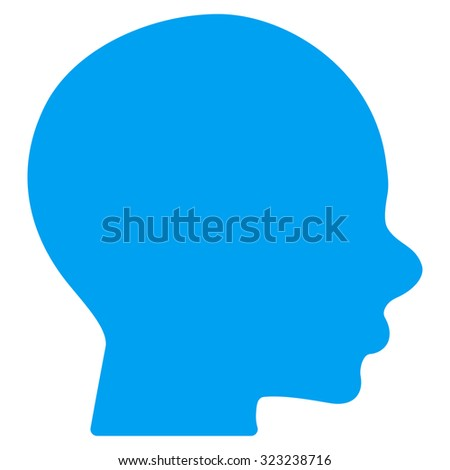 Head glyph icon. Style is flat symbol, blue color, rounded angles, white background.