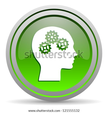 head green glossy icon on white background - stock photo