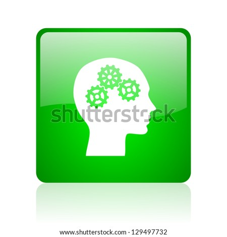 head green square web icon on white background - stock photo