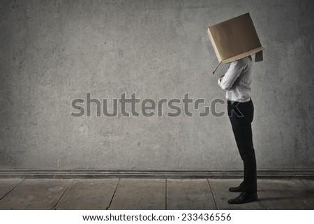 Head in the box  - stock photo