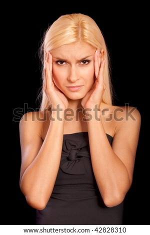 Head is ill perfect blonde, it is isolated on black background. - stock photo