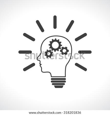 head lightbulb with gears teamwork - stock photo
