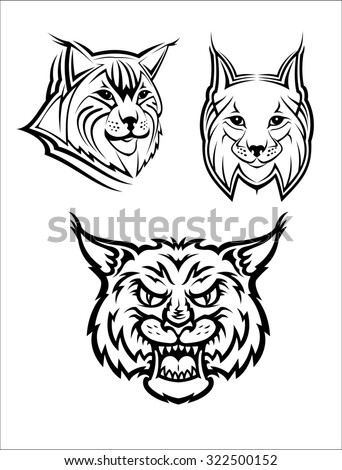 Head logo of a wild bobcat or lynx for mascot or wildlife design, isolated on white background - stock photo