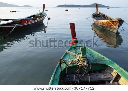 Head Long tail boat (Ruea Hang Yao) in Phuket Thailand - stock photo