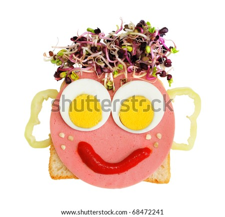 head made by foods for kids on white background - stock photo