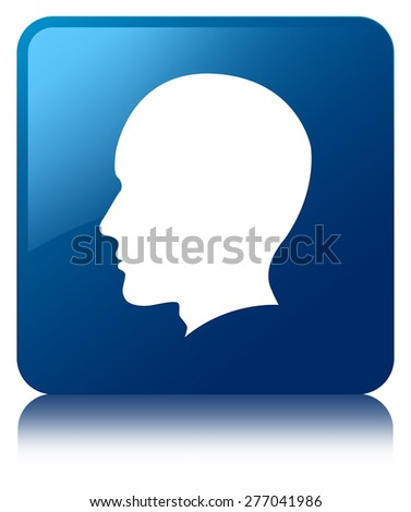 Head (male face) icon blue square button