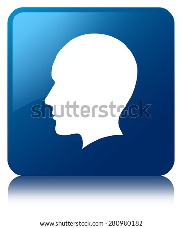 Head (men face) icon blue square button