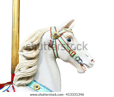 Head of a classic carousel horse isolated on white with clipping path - stock photo