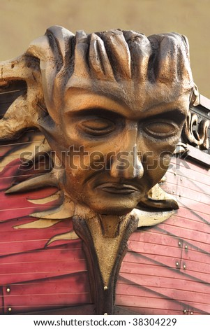 Head of a man on a pirate ship - stock photo