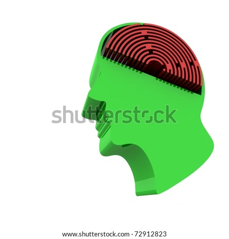 head of a man with a brain in the form of the labyrinth