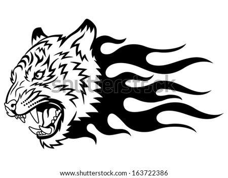 Head of a tiger in tongues of flame in the form of a tattoo. This is illustration ideal for a mascot and tattoo or T-shirt graphic. Raster version, EPS file also included in the portfolio.