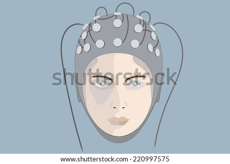 Head of a woman with EEG