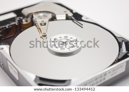 head of an hard disk opened closeup